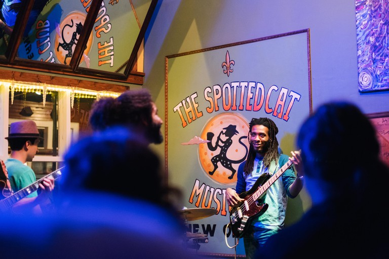Concert performers at The Spotted Cat jazz club venue on Frenchmen Street in New Orleans, Louisiana
