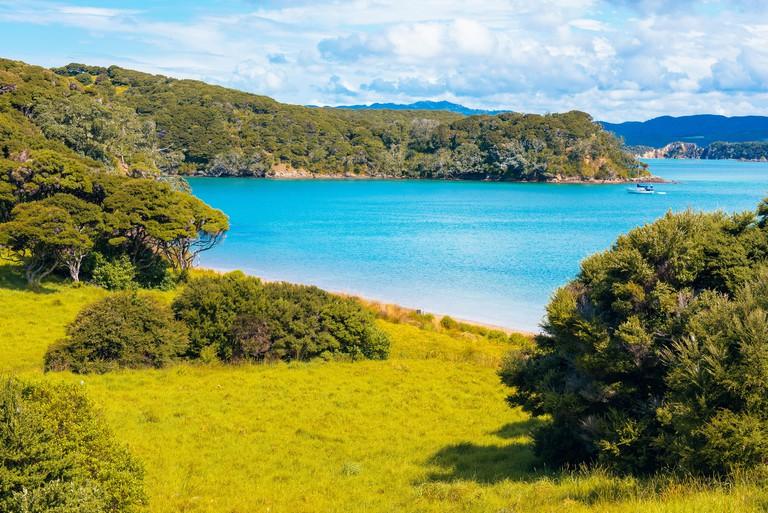 Yacht in Entico Bay on Urupukapuka Island in the Bay of Islands, North Island, New Zealand_M7A5TG