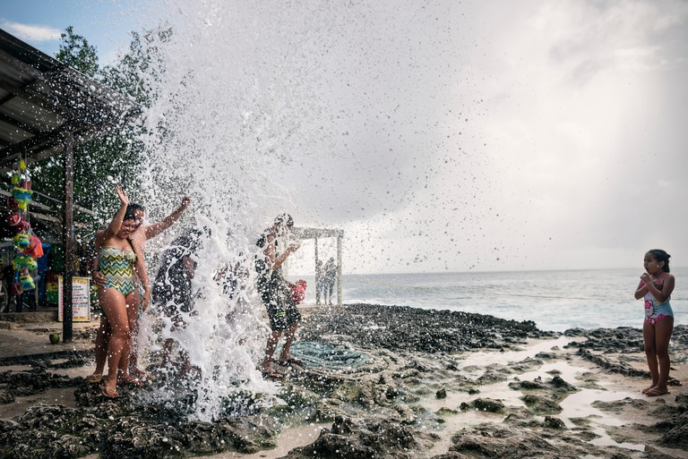 W1PDTN Colombians having fun at 'Blowhole' San Andres Island, Departamento San Andres and Providencia, Colombia,