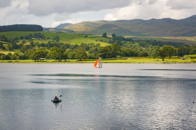 Bala lake or Llyn Tegid in Welsh the largest natural body of water in Wales and popular place for watersports and tourism