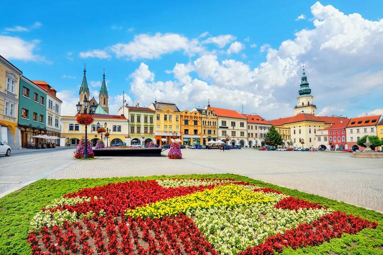 Landscape with main square of Kromeriz old town in Moravia, Czech Republic