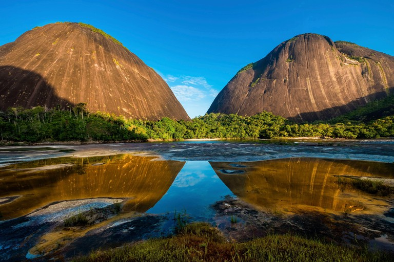 Colombia, Guainia, Inirida, Cerros de Mavicure, cliffs of Mono at left and Pajarito at right