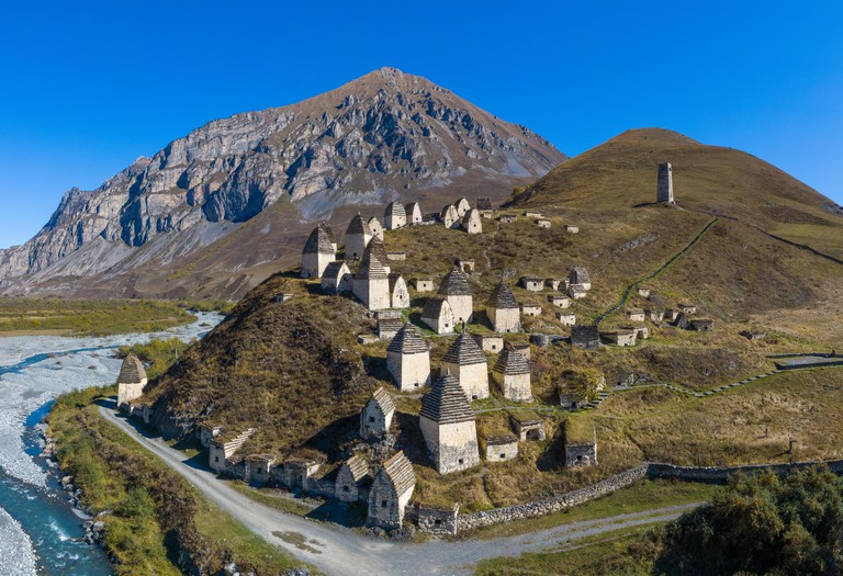 Dargavs, the medieval city of the dead in the mountains of the Caucasus. North Ossetia. Shot on a drone.