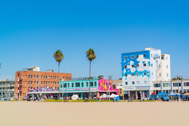 Colorful buildings along Venice Beach, in Los Angeles, California, in the United States of America