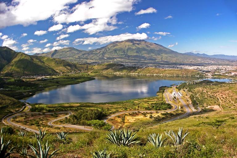 "Panoramic view of Yahuarcocha ""blood lake"" and Imbabura volcano. Ecuador. Battle site between Incas and Caranquis."