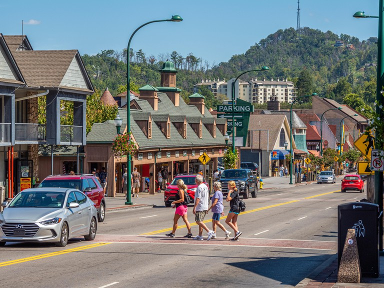 Parkway road though downtown in the Great Smoky Mountains resort town of Gatlinburg Tennessee in the United States