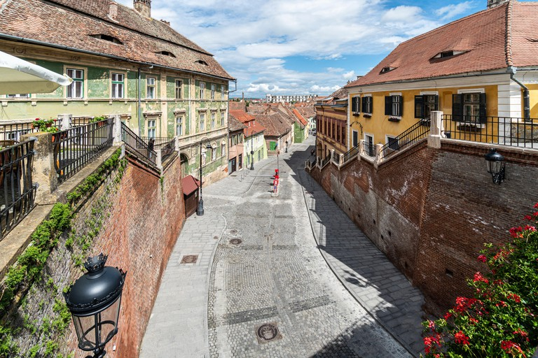 Street in the medieval Sibiu old town in Transylvania, a cultural heart of Romania in Eastern Europe