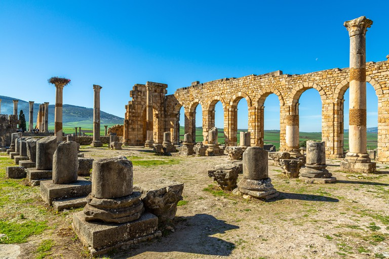 Volubilis, Interior of the Basilica, Roman ruins close to the city of Meknes. Volubilis was excavated by the French 1912-1956 Morocco