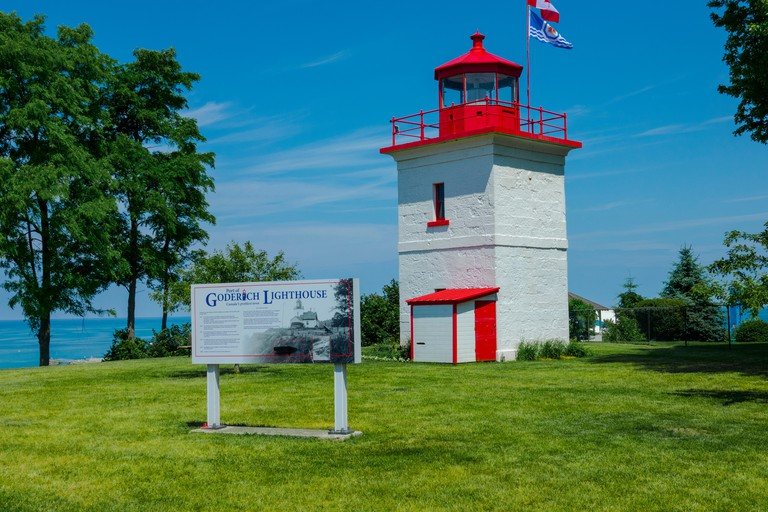 Goderich lighthouse  in Goderich Ontario Canada is the oldest Canadian light station on Lake Huron and first consisted of a pair of range lights establ