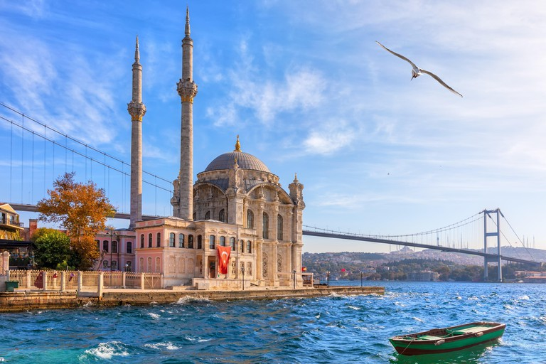 Beautiful Ortakoy Mosque in Istanbul, close view.