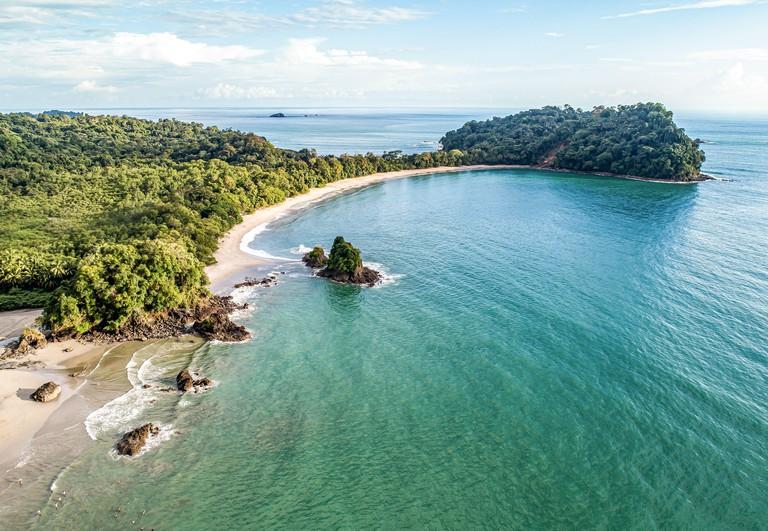 Aerial View of Tropical espadilla beach and Coastline near the Manuel Antonio national park, Costa Rica.
