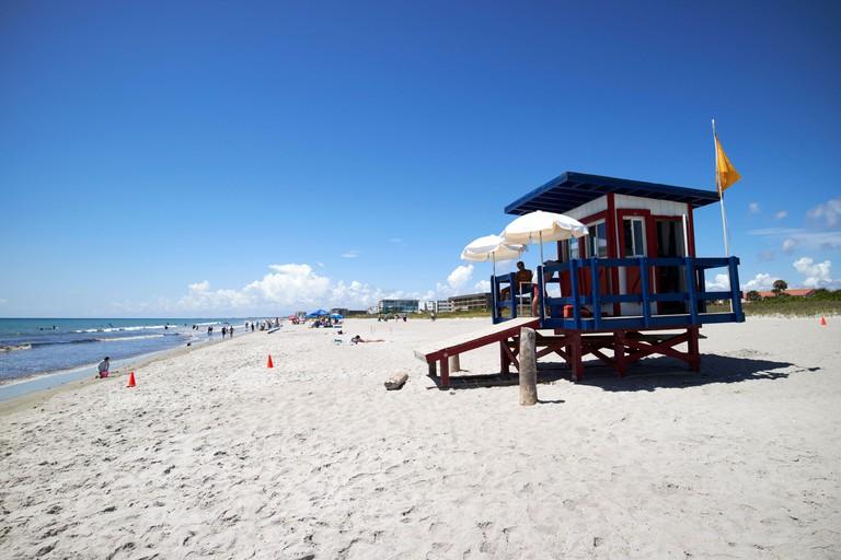 beach guard lifeguard tower hut on cocoa beach florida usa