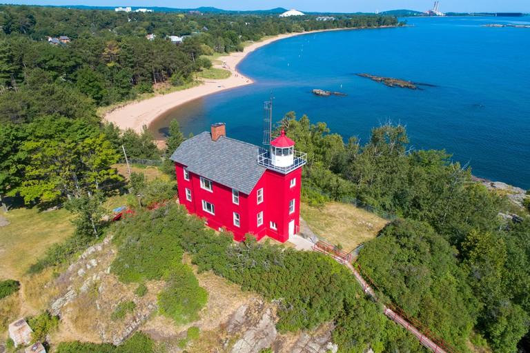 Marquette lighthouse in the Keewana Peninsula in upper peninsula michigan