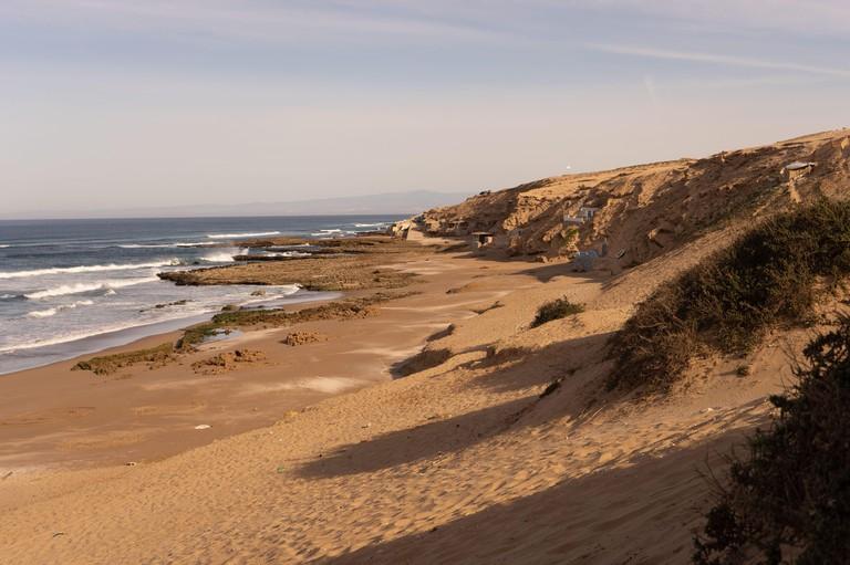 Sand dunes near Sidi R´bat on the atlantic coast of south morocco in the national park of Souss Massa
