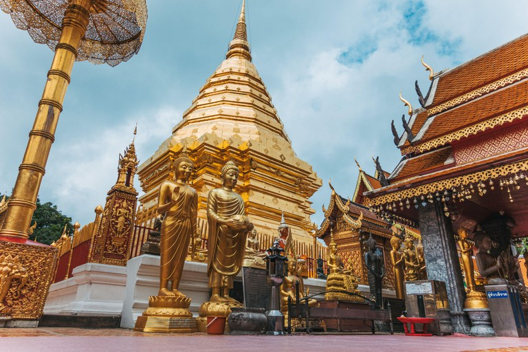 The gold-painted exterior of Wat Phra That Doi Suthep temple, Chiang Mai, Thailand