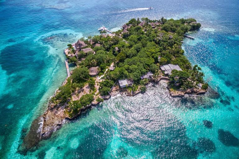 Aerial view of Rosario Islands (Islas del Rosario) off the coast of Cartagena de Indias, Colombia.