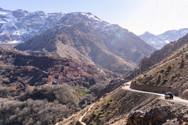 Amazing Berber village located high in Atlas mountains, Aroumd, Morocco