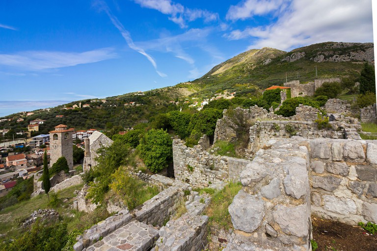 Stari Bar (Old Bar), Montenegro, the different view of the ancient city fortress, an open-air museum and the largest Medieval archaeological site