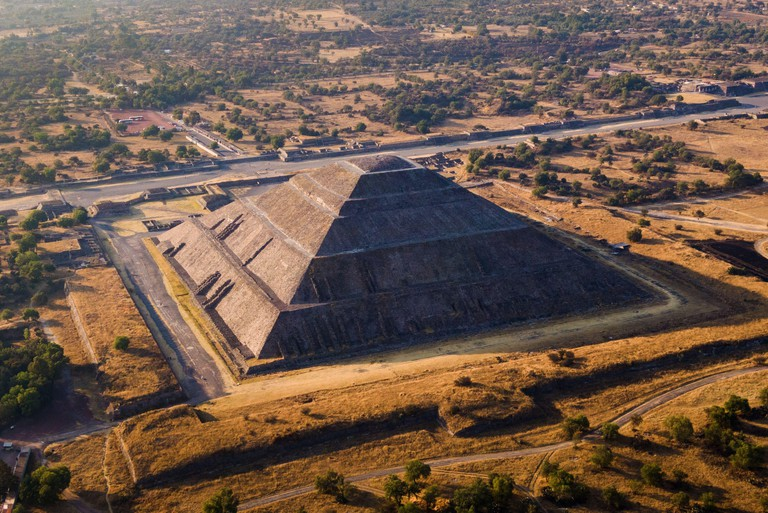 Aerial view of the Pyramid of the Sun at sunset at the ancient Aztec city of Teotihuacan, Mexico.
