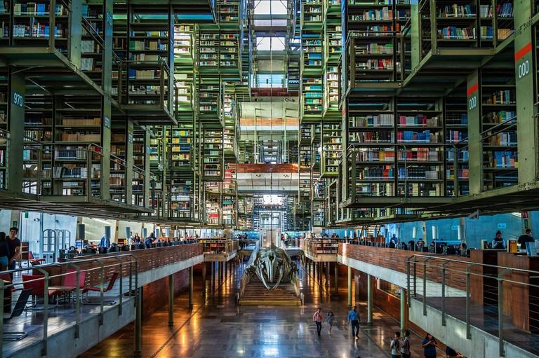 View of the interiors of architectural landmark Vasconcelos Library (Biblioteca Vasconcelos) in Mexico City, Mexico.