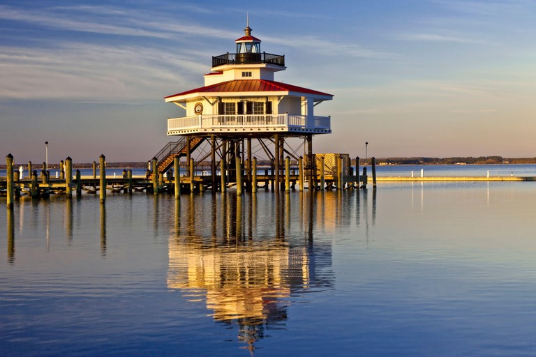 The Choptank River Light, a screw-pile lighthouse, is located near Cambridge, Maryland in the Chesapeake Bay, USA