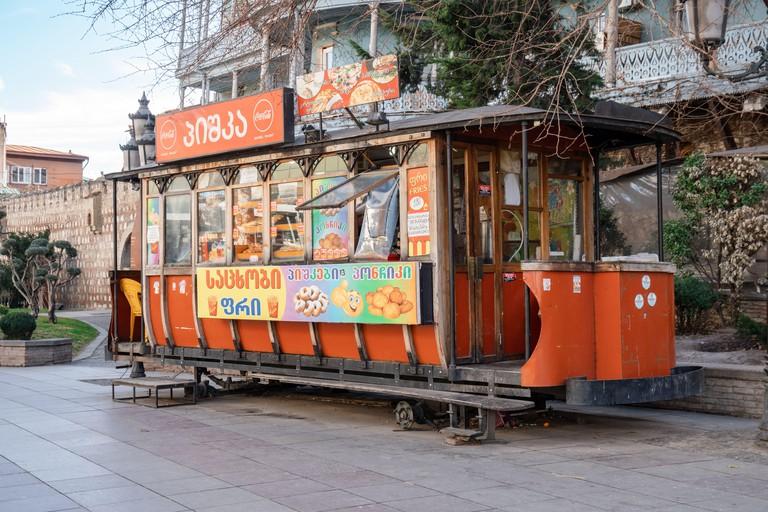 Tbilisi, Georgia 22 January 2020 - The old tram konka