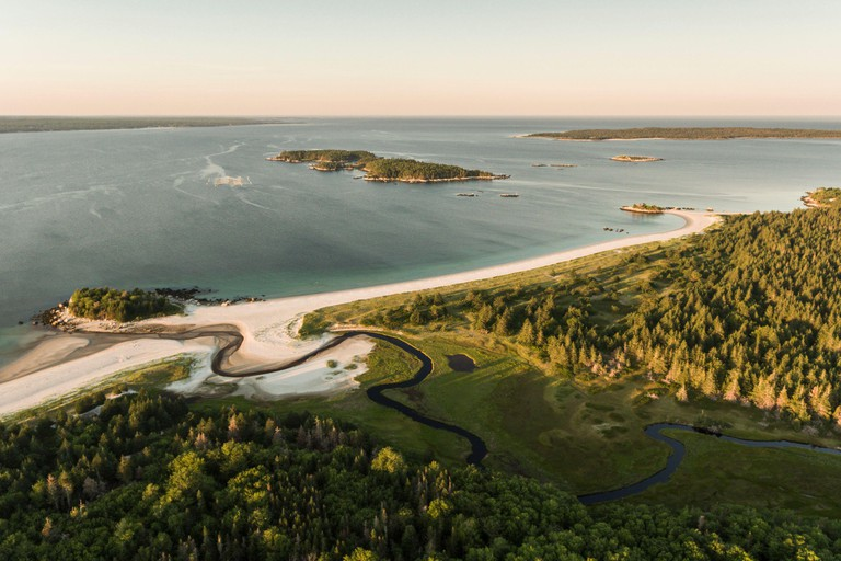 Aerial view of Carters Beach on the Southshore of Nova Scotia, Canada. August