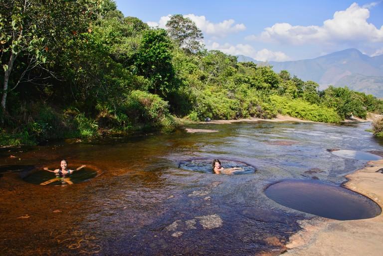 Enjoying the deep natural swimming holes of Las Gachas, Guadalupe, Santander, Colombia