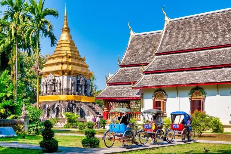 Rickshaws in Wat Chiang Man, Chiang Mai, Thailand
