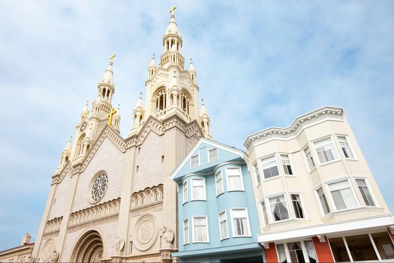 San Francisco, California, United States - Saints Peter & Paul Church at Washington Square.