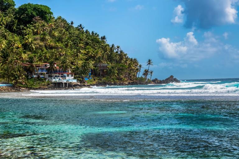 Portobelo, Isla Grande, Panama - Feb 29, 2020: Landscape around Sister Moon hotel, resort on Isla Grande near Portobelo in Panama.
