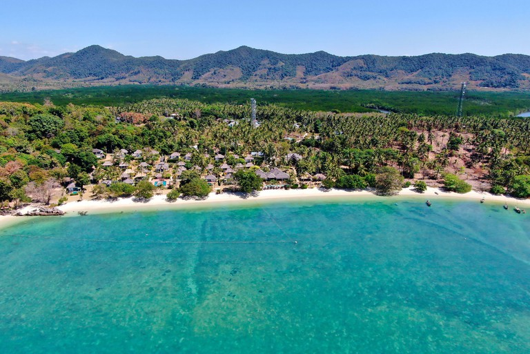 Aerial View With Drone. Beach in tropical paradise, Koh Yao Yai island in Phang-nga, Thailand. Landscape with tropical.