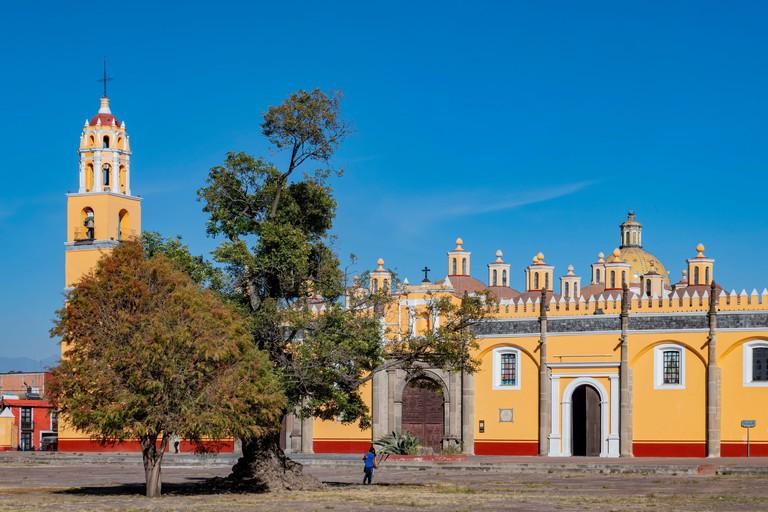 Exterior sunny view of Capilla Real o de Naturales at Puebla, Mexico
