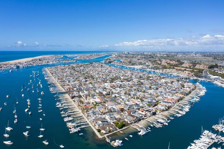 Aerial view of Balboa Island Newport Beach California