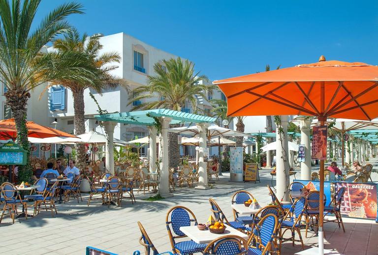 Bars and Restaurants on quayside at Marina, Hammamet Yasmine, Tunisia