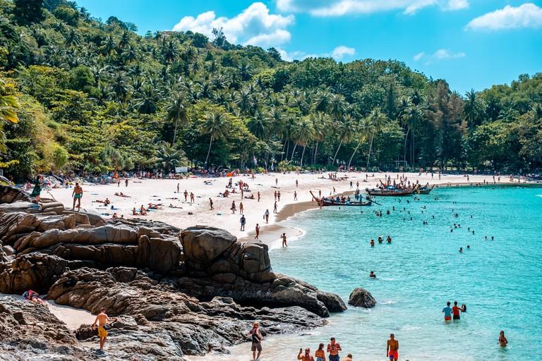 Freedom Beach, Phuket / Thailand - January 16, 2020: Freedom Beach is most popular bay in Phuket, Thailand
