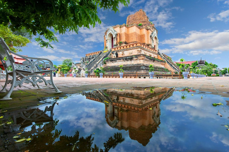Remains of the historical Buddhist temple known as Wat Chedi Luang, in Chiang Mai, Thailand