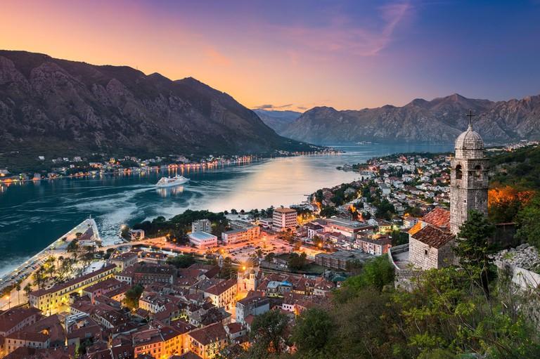 Kotor town in the Bay of Kotor, Montenegro