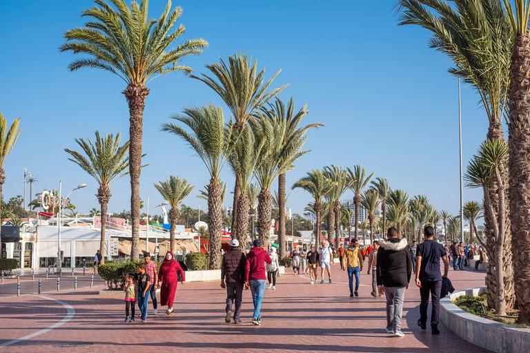 Morocco, Souss-Massa region, Agadir, the Corniche, seafront promenade