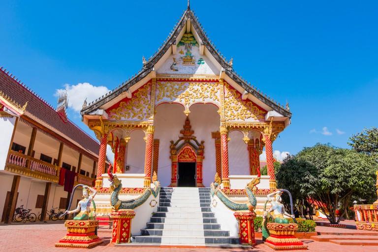 Wat That, buddhist temple area, Vang Vieng, Laos