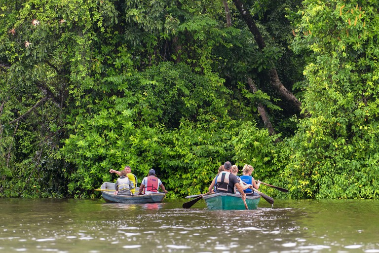 Tourists with rowboat exploring the Rio Tortuguero forest. Ecotourism concept. Costa Rica nature and ecotourism. 2BMC35F