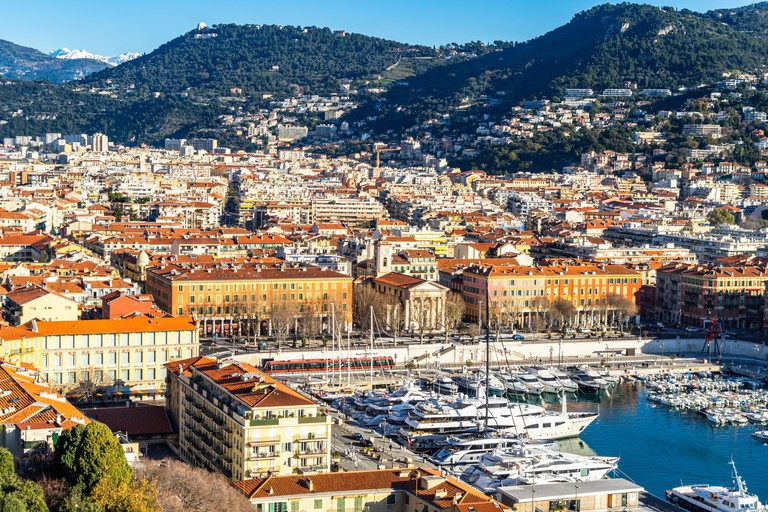 The Port of Nice viewed from the viewpoint of Colline du Chateau