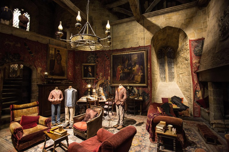The studio set of the Gryffindor Common Room, on display at the Making of Harry Potter Studio Tour at the Warner Bros.Harry Potter, studio tour, UK.
