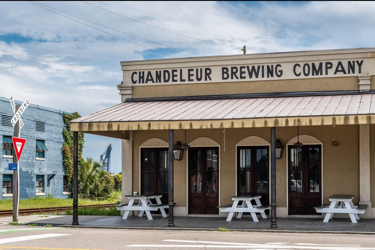 Chandeleur Island Brewing Company, locally brewed craft beer in downtown Gulfport, Mississippi, USA.