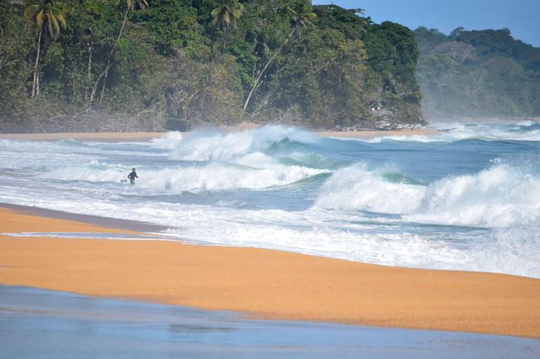 COLON ISLAND, BOCAS DEL TORO PROVINCE, PANAMA - MARCH 3, 2018: Surfer in the waves of the Caribbean sea on the Bluff Beach.