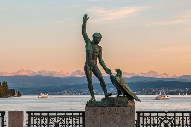 Ganymede sculpture on the Burkliterrasse in Zurich, Switzerland