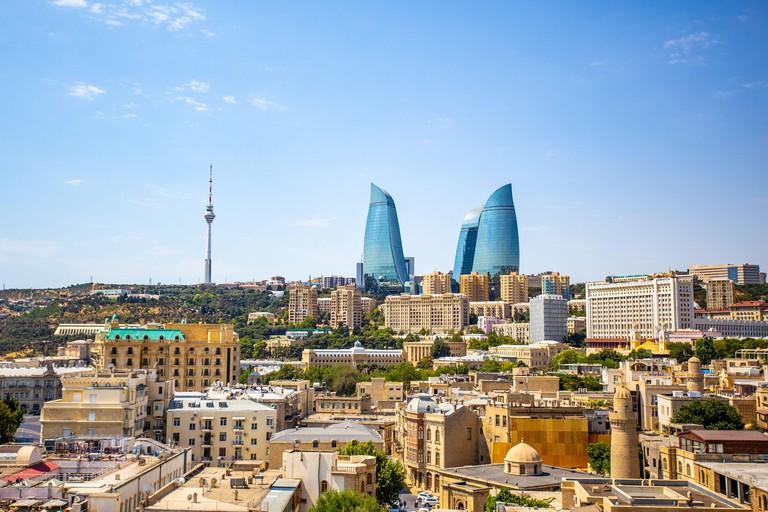 The cityscape of Baku, the capital city of Azerbaijan.