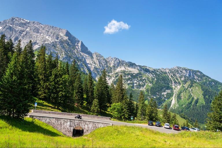 Rossfeld-PanoramastraBe behind Hoher Goll (2,522 m), at Berchtesgaden, Berchtesgadener Land, Upper Bavaria, Bavaria, Southern Germany, Germany, Europe
