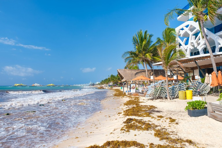The beach at Playa del Carmen on the Mayan Riviera on a sunny summer day
