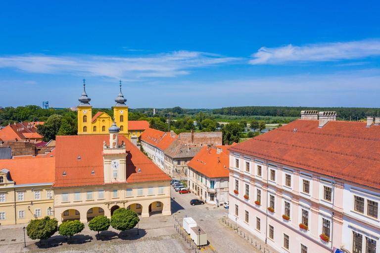Holy trinity square in Tvrdja, old historic town of Osijek, Croatia